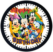 Disney Mickey Kids Birthday Black Frame Wall Clock Nice For Decor or Gifts E269