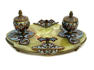 French Champleve Enamel Bronze Dual Inkwell Stand on Green Onyx Base, c1920