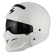 Scorpion Exo-Combat Solide Moto Casque Jet Street Fighter - Blanc