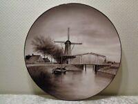 XXL Ceramica Wandteller - Vintage - Dipinto Mano - 38 CM Diametro - Mulino a