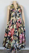 KAREN ALEXANDER Vintage 80s Hibiscus Floral T-Back Halter Dress, Small S