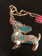 Betsey Johnson Necklace Dachshund  Blue Green Weiner Dog Crystal Enamel