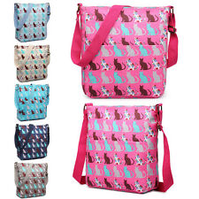Ladies Fashion Oilcloth Cat Print Cross Body Shoulder Tote Satchel Messenger  Bag be3b69fee7