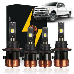 for 2017 2018 2019 2020 F250 F350 White LED High Low Beam Headlight Lights Bulbs