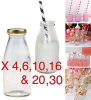 2,4,6,10,16,20,30,50 x 250ml Glass Mini MILK VINTAGE PARTY WEDDING BOTTLES LIDS