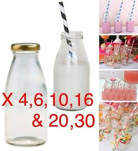 2,4,6,10,16,20,30,50 x 250ml Glass Mini MILK VINTAGE PARTY  BOTTLES GOLD LIDS