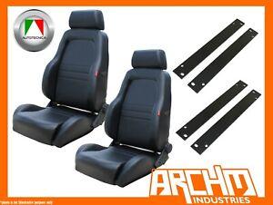 AUTOTECNICA ADVENTURER 4WD SEAT PU LEATHER BLACK RA RODEO 2003-07 ADAPTOR PAIR