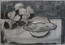 Still Life with Plate of Italian Bread & Plant Drawing-1967-August Mosca