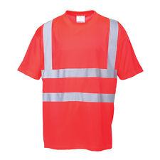 Portwest Hombre Alta Visibilidad Camiseta Rojo/Amarillo Varias Tallas s478