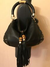 Authentic Gucci guccissima Indy bamboo tassel medium black leather shoulder bag