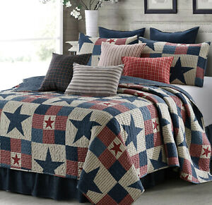 MOUNTAIN CABIN GRAY STAR 3pc King QUILT SET : NINEPATCH PRIMITIVE COUNTRY GREY