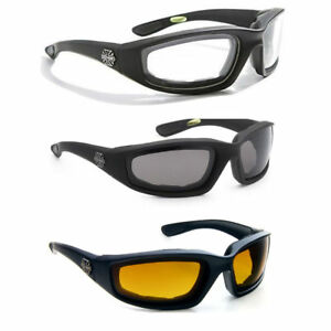 2 Pairs Choppers Padded Wind Resistant Anti-Reflective Motorcycle Sunglasses