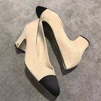 NIB Chanel Velvet Pumps Ivory Black Size 38.5