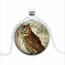 Wise Old Owl Tibet silver Glass dome Necklace chain Pendant Wholesale
