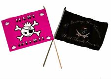 "12x18 12""x18"" Wholesale Combo Pirate Princess & Beatings Morale Stick Flag"