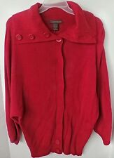 CHADWICKS RED LONG SLEEVE SNAP UP SWEATER-FOLD DOWN BIG COLLAR-SIZE SMALL