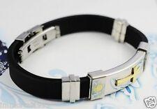 Bracelet caoutchouc et acier inoxydable - Croix Plaqué