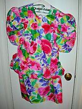 VINTAGE 1980s CAPRICCIO DRESSY SILK SKIRT SUIT SIZE 8 FLOWERS & RHINESTONES