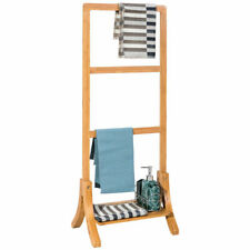 Bamboo Towel Rack Stand Hanger Free Standing with Bottom Shelf Bathroom Storage