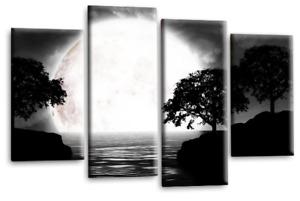 Le Reve Landscape Canvas Art Black White Grey Big Moon Trees Wall Print 4 Panels