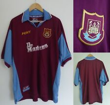 1998-1999 West Ham United FC Short Sleeve Pony Home Football Shirt Extra Large