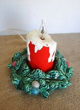 """Vintage 8"""" Ceramic Candle with Flickering Light - 8"""" by 8"""""""