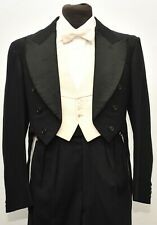 GREAT TAILORED WHITE TIE VINTAGE BLACK TAILCOAT SIZE 40 REG 1940S