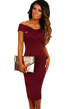 New Red Wine Off Shoulder Pencil Midi Dress Club Wear Party Wear Size S UK 8-10