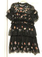 NWOT Black Floral Embroidered Mini Dress Size S