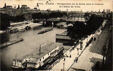 CPA PARIS Perspective de la Seine vers le Louvre et hotel de Ville (300401)