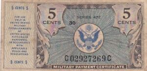 1948 USA Series 472 5 Cents Military Payment Currency Note, Pick M15