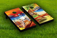 Drink on The Beach Cornhole Board Wraps Laminated Sticker Set Skin Decal