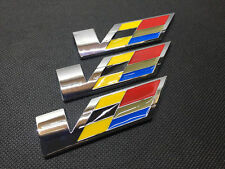 3Pcs Chrome Metal Large V Luxury Car Body Sides Trunk Lid Sticker Badge Emblems
