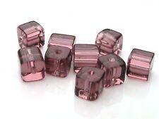 80 x 4mm Light Purple Polished Glass Cubes Beads H84