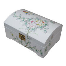 WHITE LACQUER JEWELLERY BOX WITH CHINESE LOCK, BIRD & FLOWER