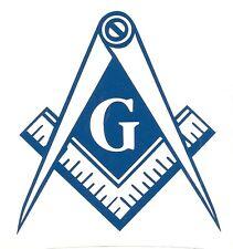 BLUE Vinyl Decal Masonic Emblem Square and Compass Mason