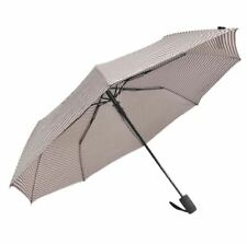 Cool Rainy Stripe Printed Art 3 Folds Automatic Foldable Umbrella (Brown/Red)
