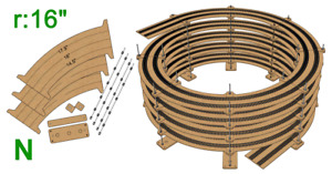 """N Scale R:16"""" Helix For 14.5"""" - 16"""" - 17.5"""" Tracks"""
