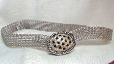 Necklace,Round Silvertone Mesh, Black Stones &Goldtone Magnetic Front Clasp