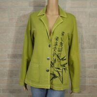 Spa Chico's Misses 0 SMALL 4 Cotton Blazer Jacket Asian Print Raw Edge Seams