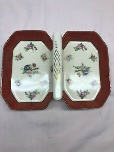 Vintage Hand Painted Porcelain Middle Handle Divided Nut/candy Dish