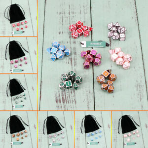7Pcs Zinc alloy Metal Polyhedral Dice & Bag DND RPG MTG Role Playing Board Game