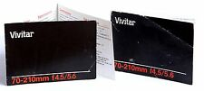 Vivitar 70-210 f4.5-5.6 Booklet  & Fold out Print 92pp