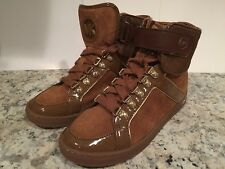 Michael Kors Greenwich High Top Zapatillas De Moda Ante Marrón 5.5m NUEVO