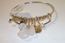 Ann Taylor LOFT Hammered Disc Opal Pearl dainty cuff bracelet  NWT $24.50