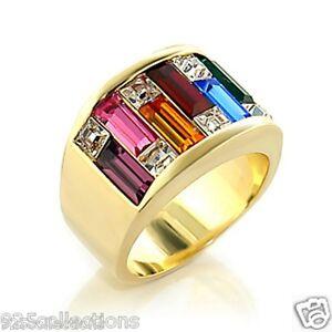 7X3 mm LGBT Multi Rainbow Gay Pride Crystal Bar Shape Men's Ring Band Size 5-15
