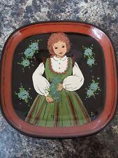 Charming Vintage Swiss Art Pottery Wall Plate Signed Rheinfelden Handerbeit A.P.