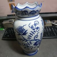 "CHINA BLUE FINE PORCELAIN Bud Vase Exclusive For SEYMOUR MANN 10"" x 6"" Vintage"
