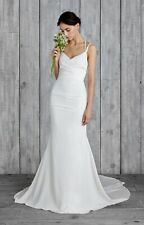 "Nicole Miller Bridal ""Celine"" Wedding Gown FJ10012 Low Strappy Back Sz 12"