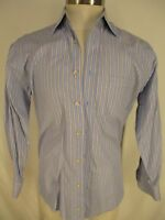 Peter Millar Mens Blue Stripe Long Sleeve Cotton Shirt M
